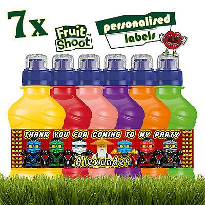 7 X Personalisiert Lego Ninjago Obst-Shooting Etiketten Flasche Aufkleber