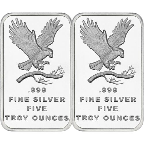 Trademark Bald Eagle 5oz .999 Fine Silver Bar by SilverTowne-QTY of 2