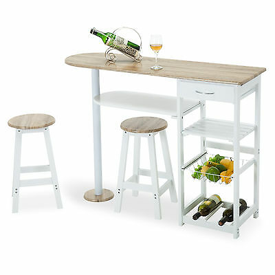 Kitchen Island Cart Trolley Dining Table Storage 2 Bar Stools & Drawer Oak White, used for sale  USA
