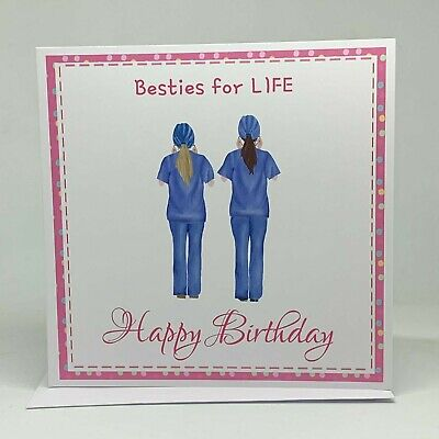 Besties for Life, Birthday Card for Best Friend, Nurse inspired Card,