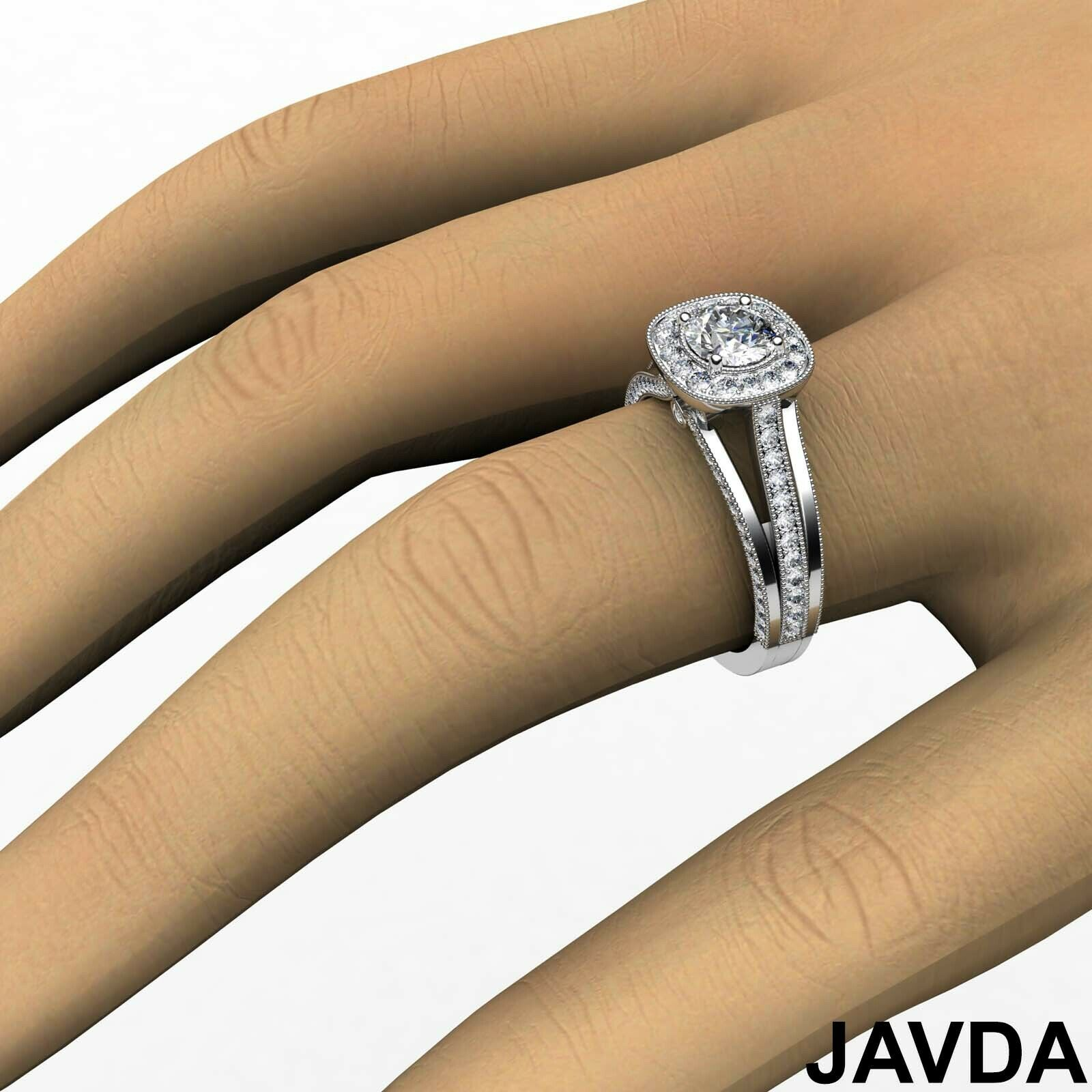 1.6ctw Bridge Accent Round Diamond Engagement Ring GIA E-VVS2 White Gold Rings 4