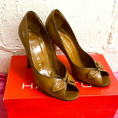 Vintage Halston Garolini bow peep toe pumps, original box, size 5.5