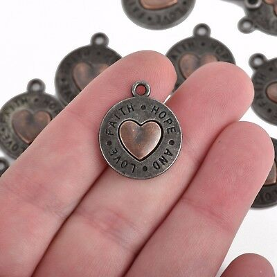 Gunmetal Heart - 5 Gunmetal Coin Charms, Coin with Copper Heart, FAITH HOPE LOVE, 24mm chs3511
