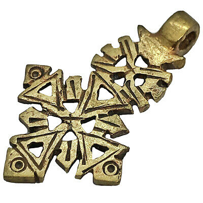 Late Or Post Medieval Coptic Christian Brass Cross Pendant Charm African Old A