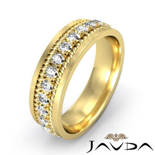 Classic Round Diamond Mens Eternity Wedding Band 14k Yellow Gold 8.5mm Ring 1Ct