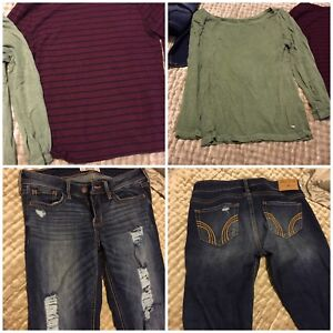 Hollister Jeans and Two American Eagle Soft & Sexy Tops