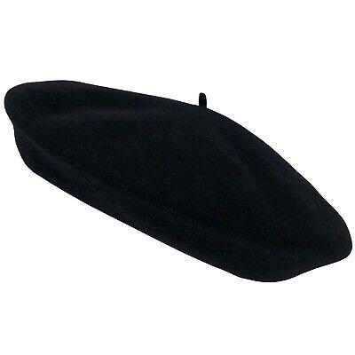 erren Damen Mütze Basque Barret Baske Franzosenmütze 9,5 (Schwarze Baskenmütze)