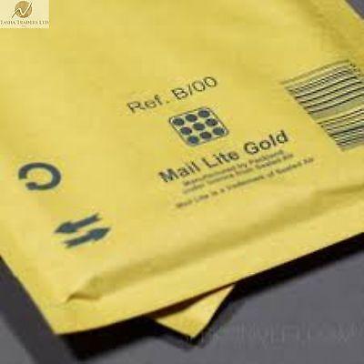 25 B00 B/00 Gold Brown 120mmx210mm Padded BubbleWrap Mail Lite Postal Bag NEW
