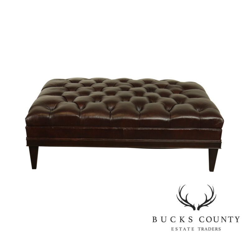 Vanguard Tufted Brown Leather Large Chesterfield Style Ottoman