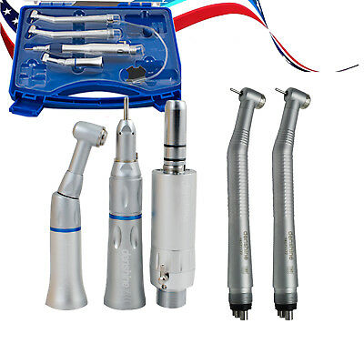 4 Hole E-generator Dental High Low Speed Handpiece Kit Push Button Free Case