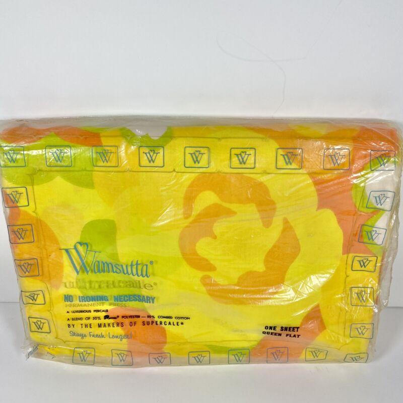 VTG 70s NIP Wamsutta Orange Daisy Daze Mod Flower Power Queen Flat Sheet 90x115