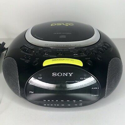 Sony ICF-CD832 Black Yellow FM/AM CD Player Alarm Clock Radio Psyc