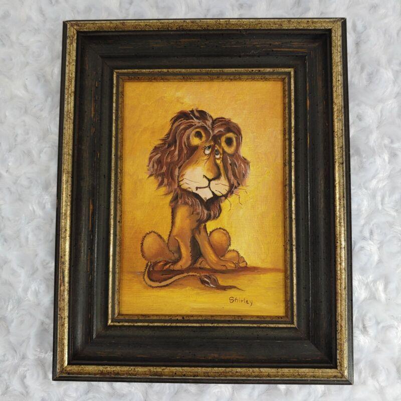 vintage bashful sheepish lion painting signed by artist childrens baby nursery