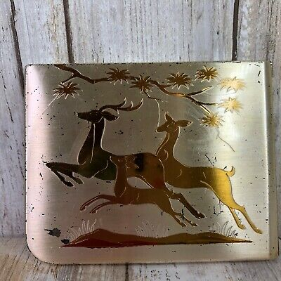 Vintage Elgin American Deer Cigarette Case Mid Century Gold Metal Business Card