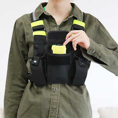 Radio Pocket Chest Harness Front Pack Pouch Holster Vest Rig Fluorescent Green