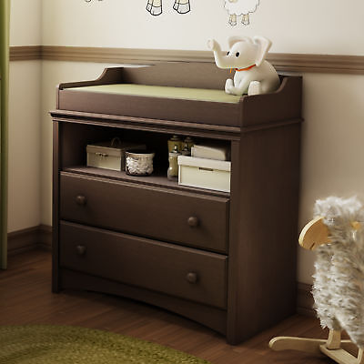 Changing Table Espresso Furniture Drawers Nursery Baby Armoire South Shore Angel for sale  USA