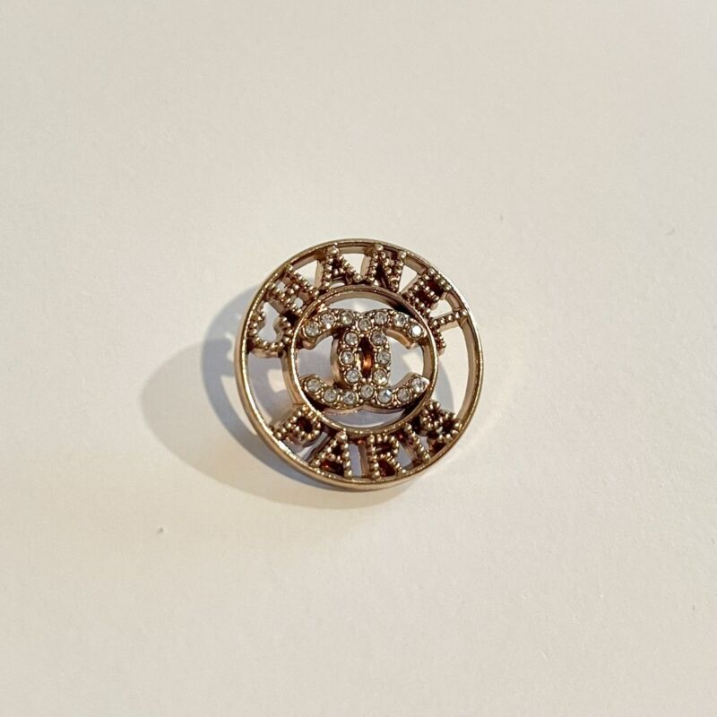 """Authentic Chanel Button Rose Gold With Crystals 1"""""""
