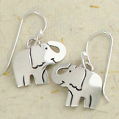 Smiling Elephant Dangle Earrings 925 Sterling Silver Far Fetched Gift - Smiling Elephant