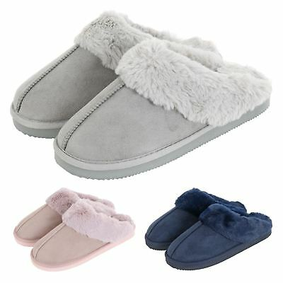 Womens Autumn Faith Ladies Faux Suede Fleece Mule Slippers Hard Non Slip Sole