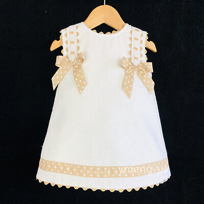 *SALE* Beautiful Wee Me Baby Girl White Spanish Dress Camel Polka Dot Bow