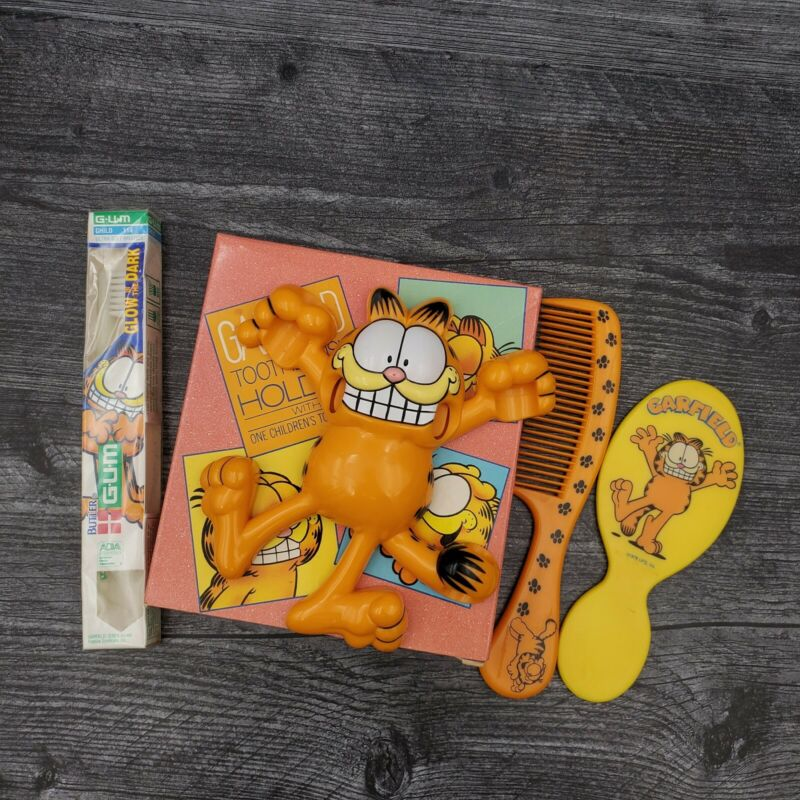 Vintage Avon Garfield the Cat Toothbrush Holder Comb Mirror Bathroom Set Lot