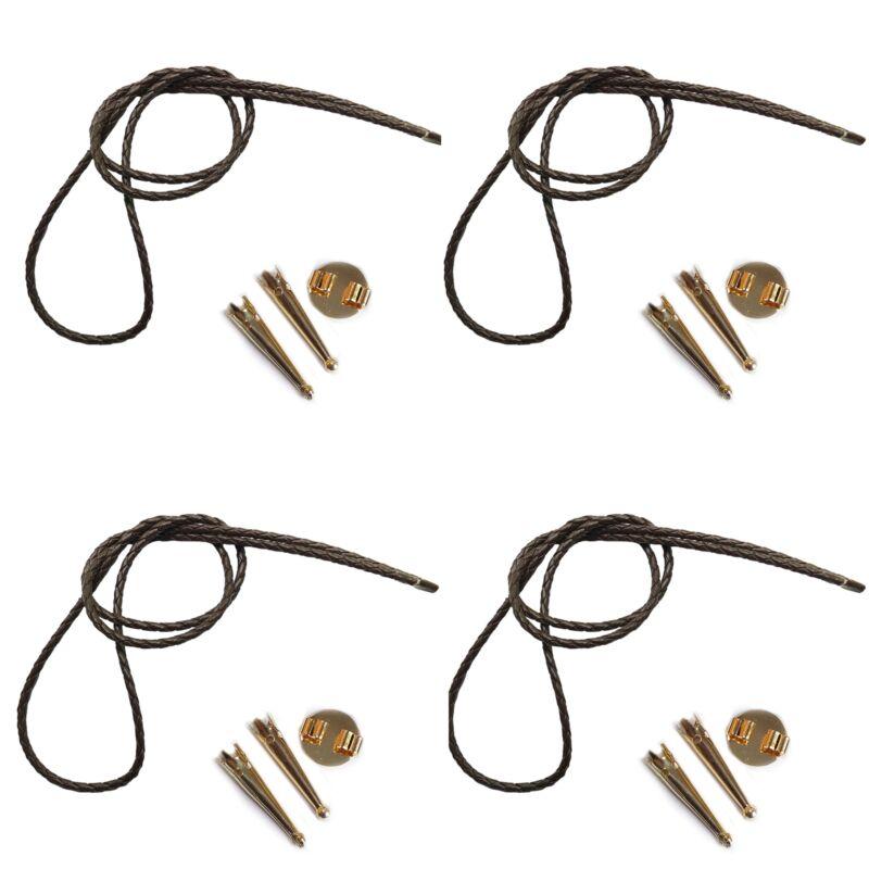 Blank Bolo String Tie Parts Kit Gold Round Slide Smooth Tips Brown Vinyl Braid
