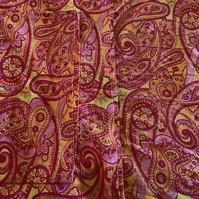 VTG Mod Orange & Pink Paisley Cotton TWIN Sheet Set Flat/Fitted/Case Divatex ()