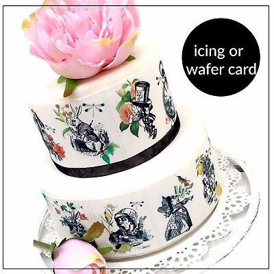 Alice In Wonderland Cake Decorations (Alice in Wonderland Botanical cake, cupcake decoration icing wafer Edible)