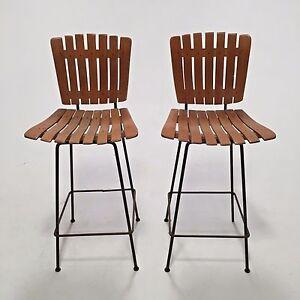 Pair of Vintage Mid Century Modern Arthur Umanoff Slat Wood Bar Stools VTG MCM