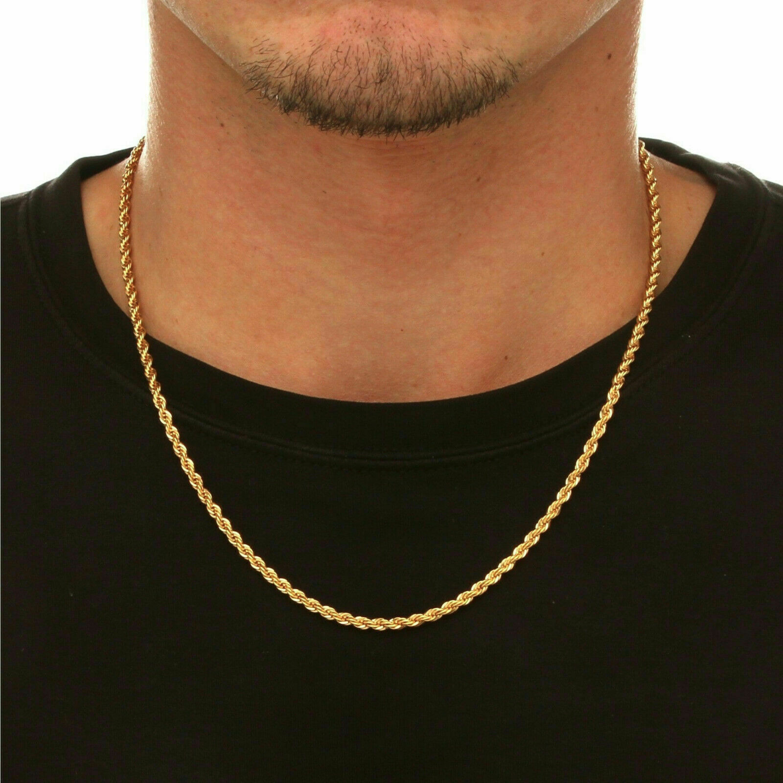 """18K Solid Gold Rope Chain Necklace Men Women 14"""" 18"""" 20"""" 22"""" 24"""" 26"""" 28"""" 30"""""""