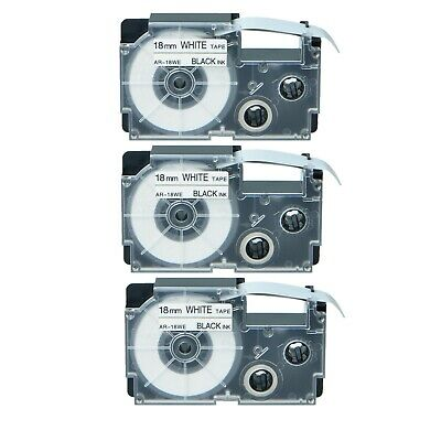 Us Stock 3pk Xr-18we Black On White Label Tape For Casio Ez Printer 34 X 26