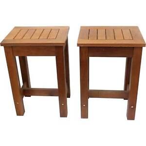 New Set of 2 Hardwood Timber Garden Bar Stools Outdoor Furniture Melbourne CBD Melbourne City Preview