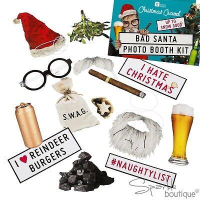 BAD SANTA CHRISTMAS PHOTO BOOTH PROPS -Novelty Xmas/Secret Santa- TALKING TABLES ()