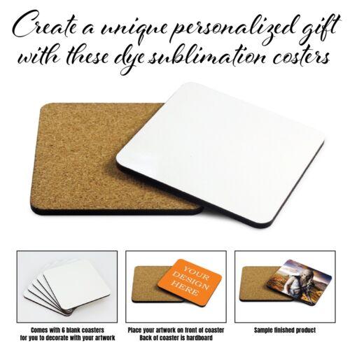 6 Blank Dye Sublimation Hardboard Square Drink Coasters