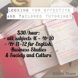 $30/hr for English Tutoring, Business Studies and Society & Culture