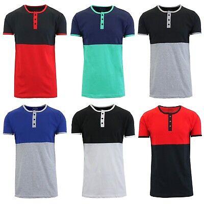 Mens Henley T-Shirt Short Sleeve Tee Lounge Slim Fit Crew Neck S M L XL XXL NEW