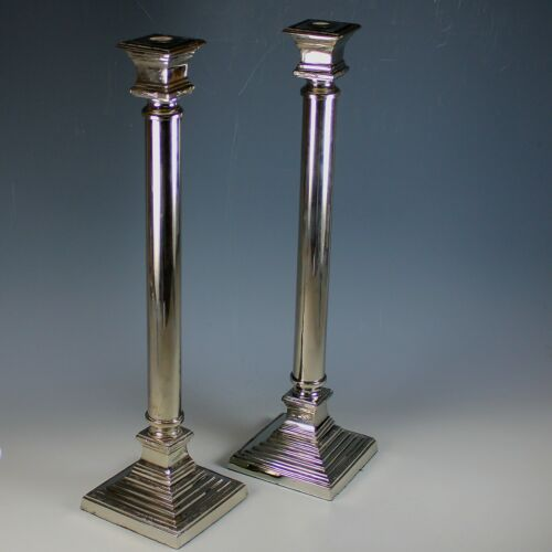 """Pair of Large Silverplate Candlesticks Candle Holder Set 21"""" tall"""