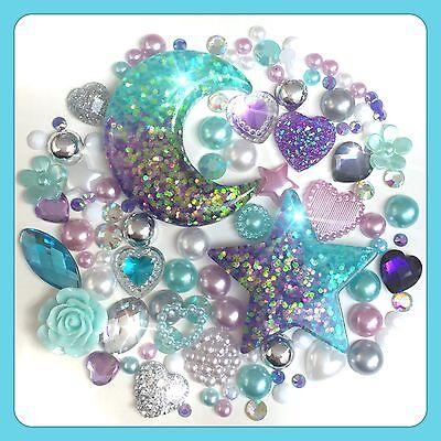 Glitter Moon & Stars Theme Cabochon Gem & pearl flatbacks for decoden crafts