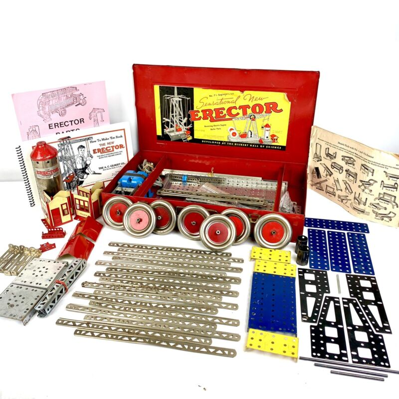 VTG GILBERT ERECTOR SET w/ Metal Case Building Engineer Toy 7 1/2 STEM 300+ pcs!