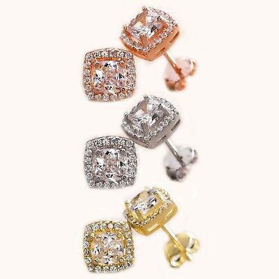 Classic Antique Designer Style Princess Cut Halo Stud Earrings CZ In Silver
