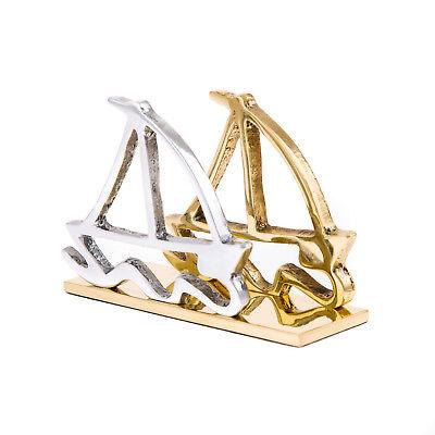Business Card Holder 2 Sailing Boats Design Modern Handmade Aluminum Brass