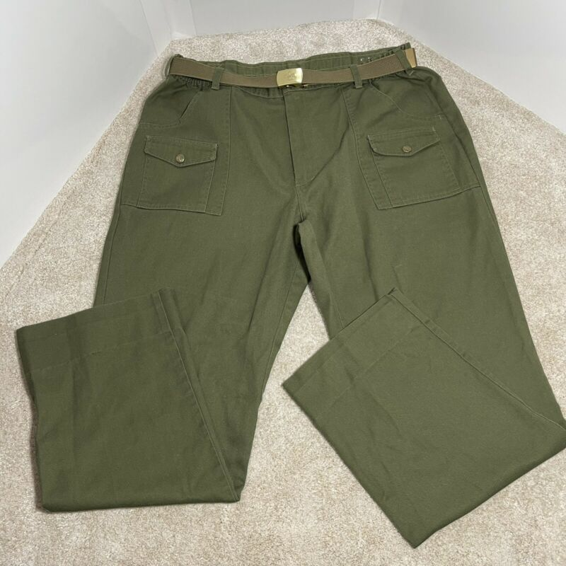 Vintage '60 Boys Scout Of America Pants With Antique Belt W18 Inches Long 32