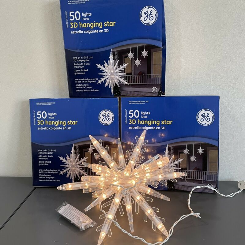 """GE 50 Clear Lights 3D Hanging Star Christmas Decor 14"""" Indoor/Outdoor LOT OF 3"""