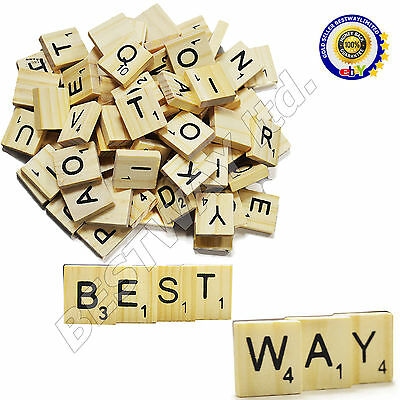 100 WOOD SCRABBLE TILES WOODEN BLACK NUMBERS LETTERS BOARD CRAFTS GENUINE UK NEW