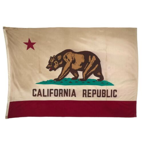 Large Vintage Cotton California Republic Old Cloth American State Bear Flag USA