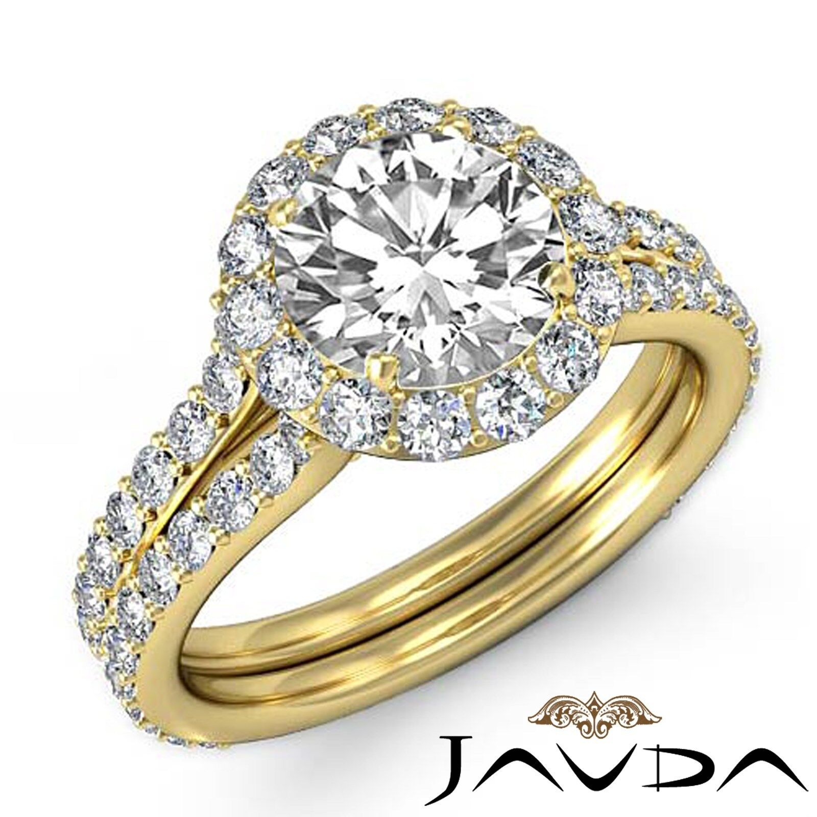 Halo Micro Pave Round Natural Diamond Engagement Ring GIA Certified I SI1 2.8 Ct