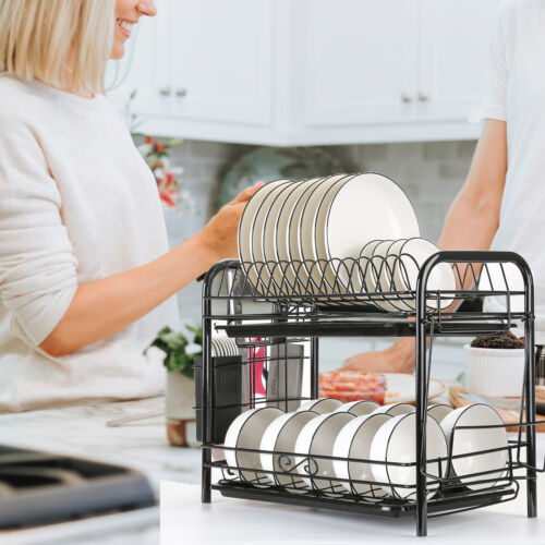 2-Tier Dish Drying Rack Dish Rack Drainer Holder Kitchen Sto