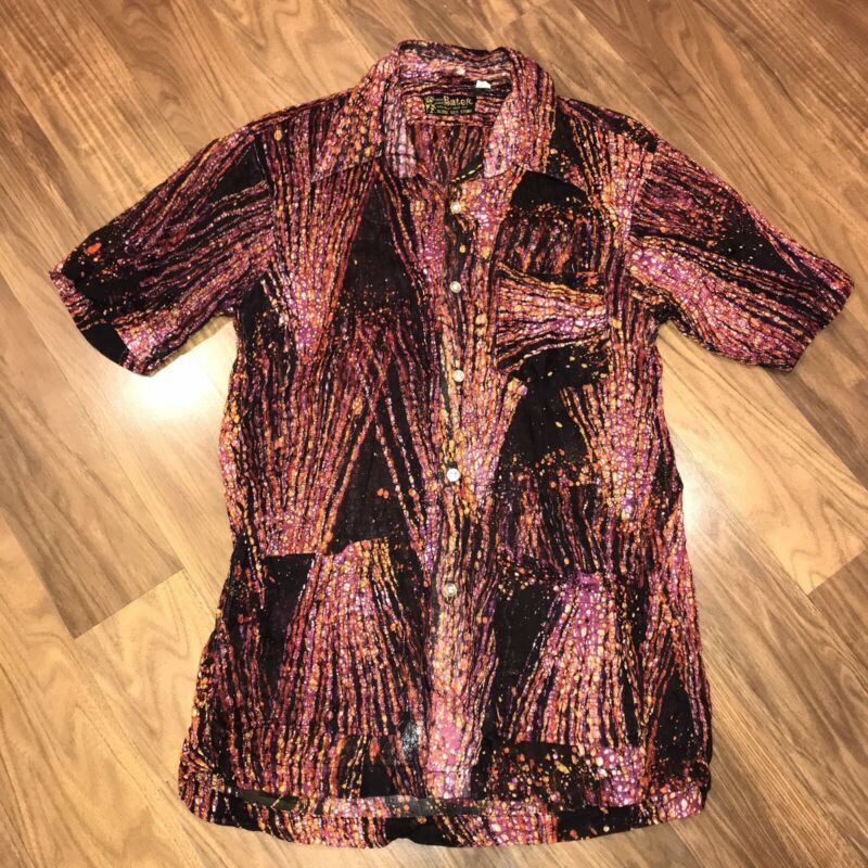 Vtg 60s 70s Abstract ALL OVER PRINT Disco Shirt Psychadilic Trippy MENS SMALL