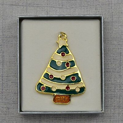 WALLACE Silversmiths Christmas Tree Cookie Ornament in Solid Pewter Hand Painted Painted Pewter Ornament