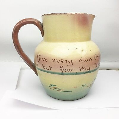 VINTAGE ANTIQUE LARGE MOTTO WARE LARGE JUG GIVE MAN THY EAR BUT FEW THY TONGUE